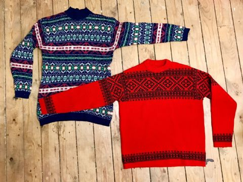16 x Vintage Mens Jumpers Fisherman Fairisle Christmas Retro indie Cardigan Sweater Unisex Job Lot 70's
